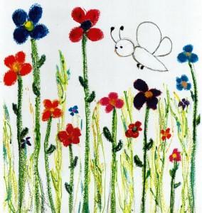 APOLLON-spectacle-jeune-public-compagnie-du-tapis-volant sous forme d'un dessin enfantin d un papillon et de fleurs de couleur